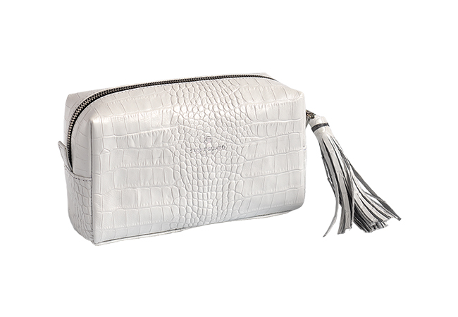 Womens Leather Cosmetics Bag | 701 | White Rift